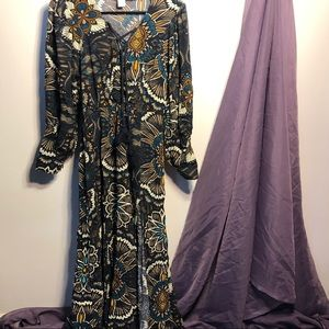 H&M Retro Boho Patterned Long Sleeved Maxi Dress